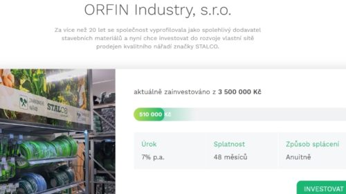 ORFIN Industry hledá investory